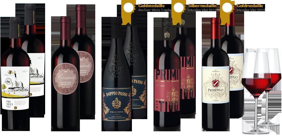Primitivo Rotweine aus Italien in einem Paket