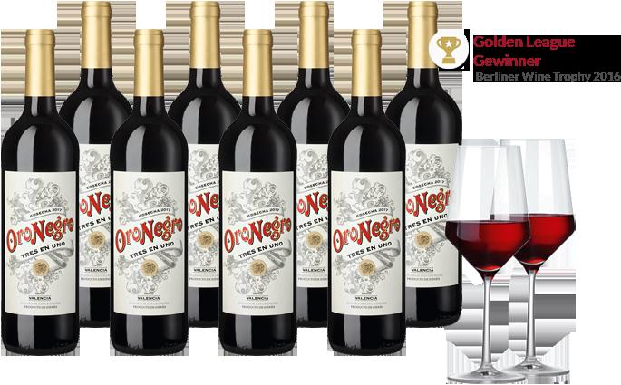 8 Flaschen Oronegra Tinto Tres en Uno + 2 Rotweingläser