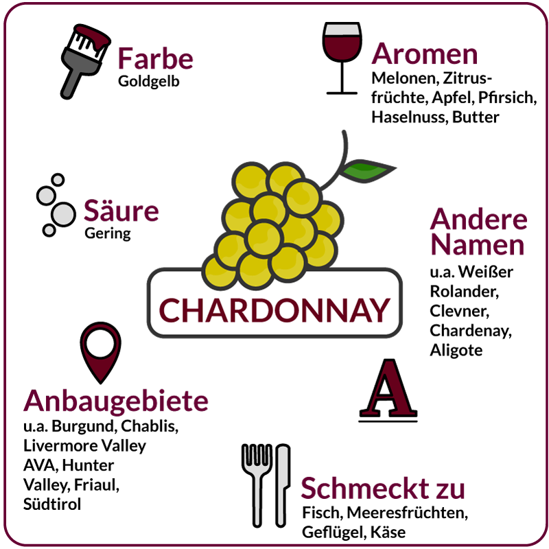 Farbe, Aromen, Säure, Anbaugebiete Rebsorte Chardonnay