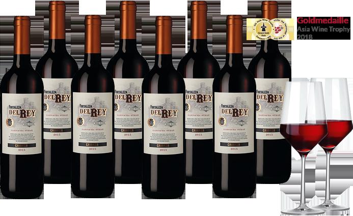 8 Flaschen Fortaleza del Rey + 2 Weingläser
