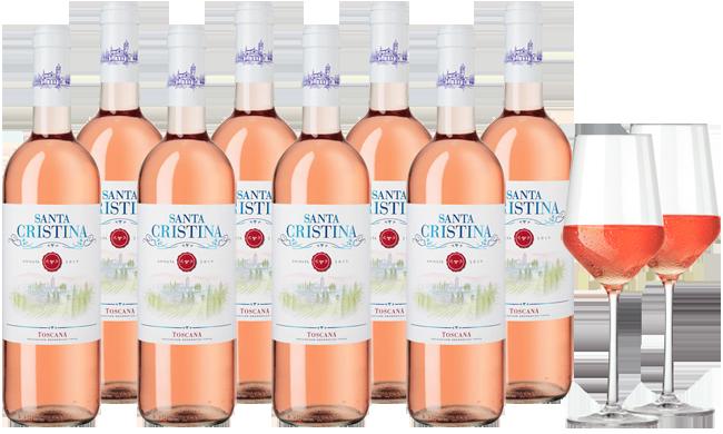 8 Flaschen Santa Cristina Rosato + 2 Weingläser