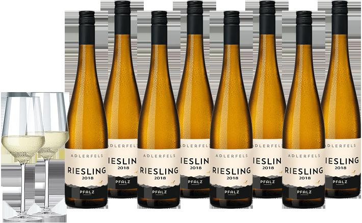 10 Flaschen deutscher Weißwein + 2 Gläser