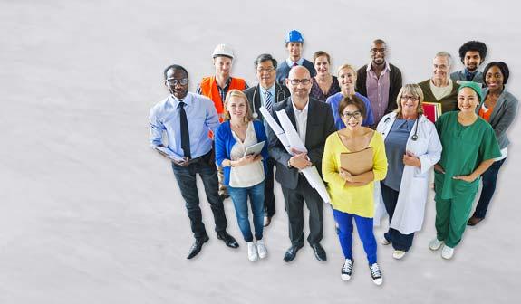 Gruppe von Menschen mit verschiedenen Berufsbildern