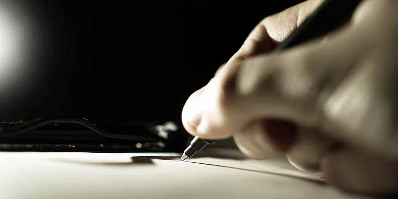 Schreiben mit einem Kugelschreiber