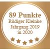 Auszeichnung 89 Punkte - Rüdiger Kleinke Jahrgang 2019 in 2020