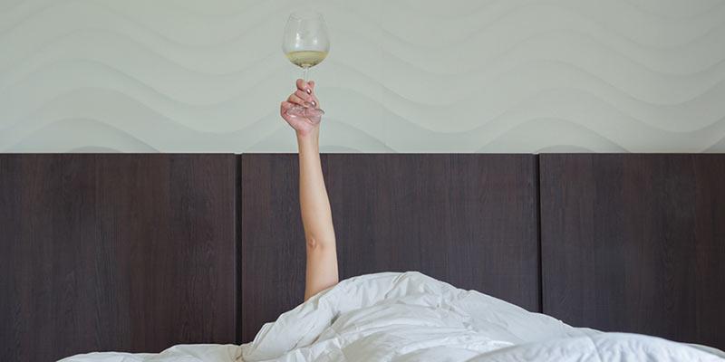 Wein im Bett