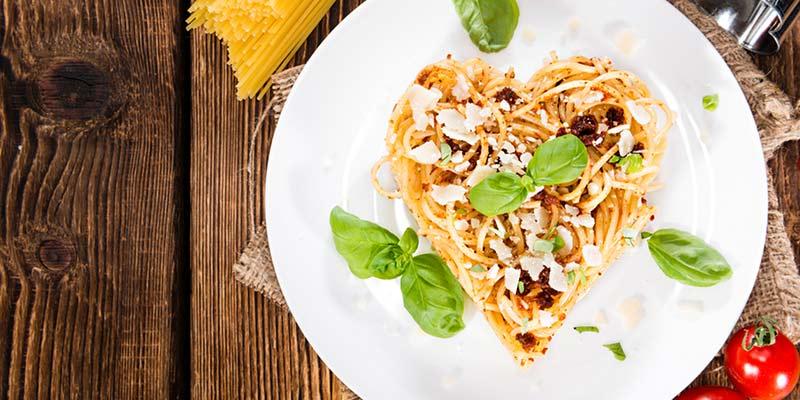 Spaghetti in Herzform