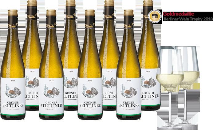 8 Flaschen Steinpfefferl Grüner Veltliner + 2 elegante Weingläser