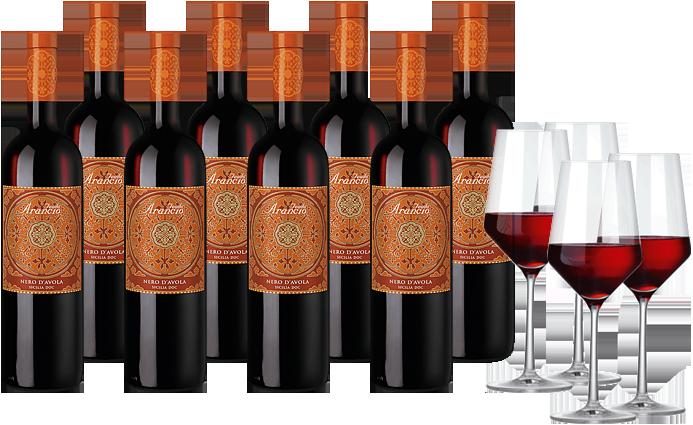 8 Flaschen Feudo Arancio Nero d'Avola + 4 elegante Weingläser