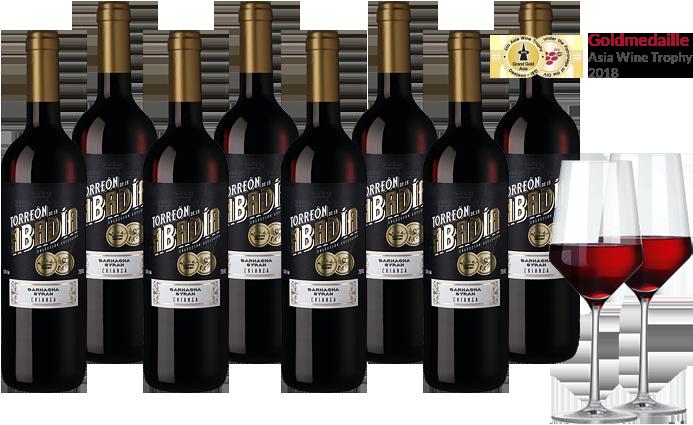 8 Flaschen Torreón de la Abadía + 2 Weingläser