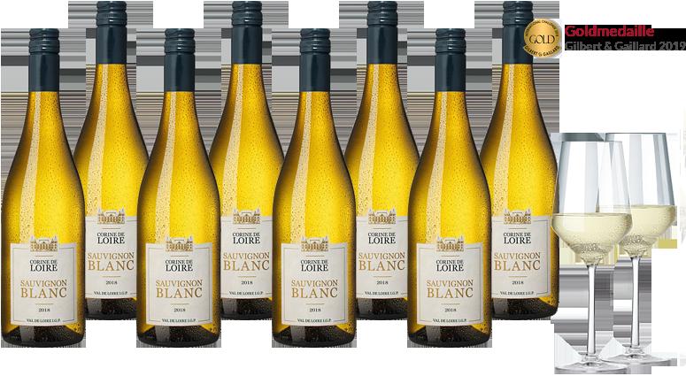 8 Flaschen Corine de Loire Sauvignon Blanc + 2 Weißweingläser
